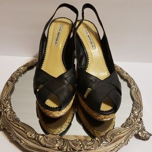 Via Spiga black leather woven wedge slingback 7M